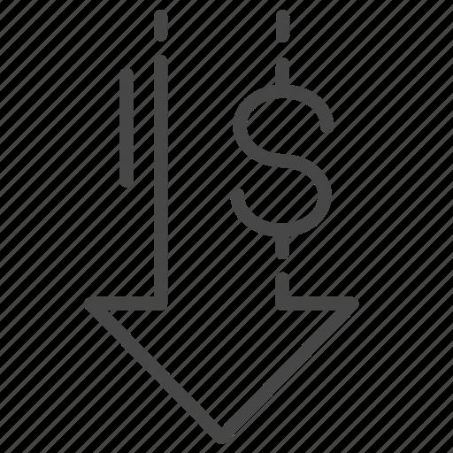 decrease, interest, loan, money, wealth icon