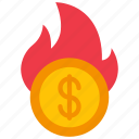 burning, finance, fire, loans, money icon