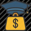 debt, finance, loans, student icon