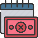 calendar, date, loans, missed, payment icon