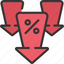 arrows, decreased, interest, rate icon