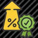award, guaranteed, interest, loans, rate icon