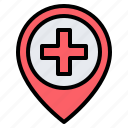 hospital, clinic, location, pin, placeholder, map, gps