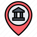 bank, building, location, pin, placeholder, map, gps