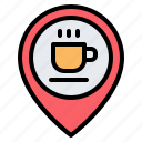 coffee shop, cafe, location, pin, placeholder, map, gps