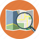 glass, look up, magnifier, map icon