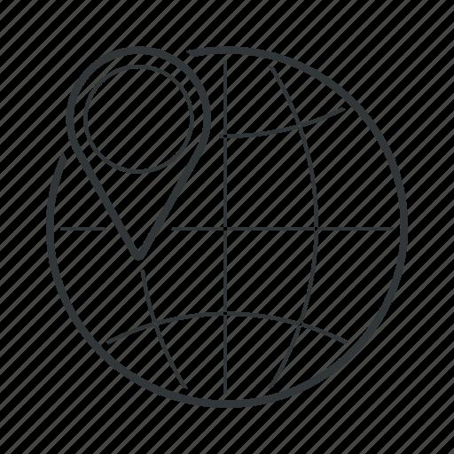 earth, globe, gps, location, map, pin, world icon