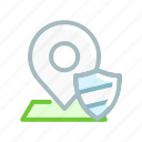 location, map, navigation, pin, place, security, shield icon