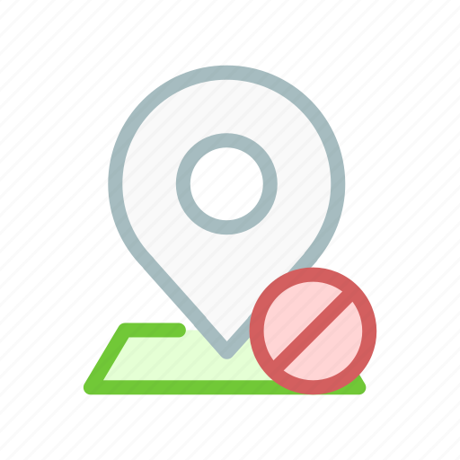 cancel, denied, gps, location, map, navigation, pin icon