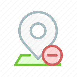 location, map, minus, navigation, pin, point, remove icon