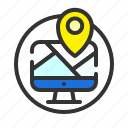 computer, gps, location, map, pin