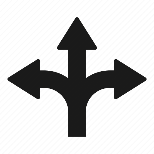 crossroad, three, ways icon
