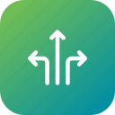arrow, direction, location, road, sign, turn, way icon