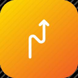 arrow, direction, location, road, straight, zigzag icon