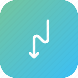 arrow, direction, down, location, road, zigzag icon