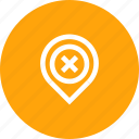 cancel, gps, location, marker, navigation, pin icon
