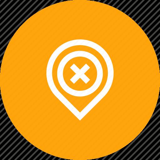 cancel, gps, location, marker, navigation, pin icon
