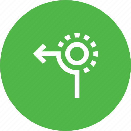 circle, direction, from, left, road, sign, way icon