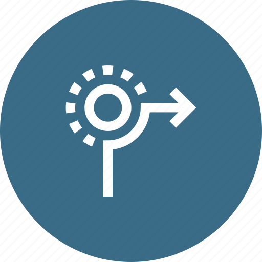 circle, direction, path, right, road, sign, way icon