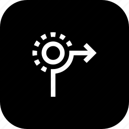circle, direction, from, path, right, road, sign icon