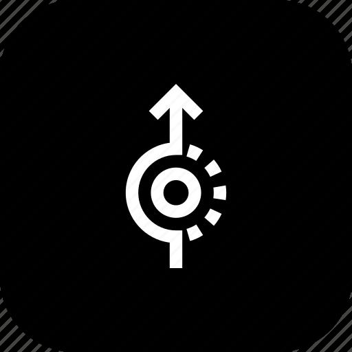 direction, path, road, sign, straight, uturm, way icon