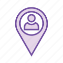 gps, location marker, person location, track address, track person icon
