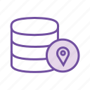 data centre, database location, distributed computing, location pin, server location, track data icon