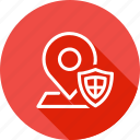 location, map, navigation, place, security, shield, tag icon
