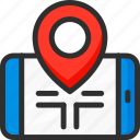location, mobile, phone, pin, pointer, position, road icon