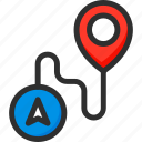 location, pin, pointer, position, road, track, trip icon