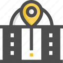 building, government building, office, pin, pointer icon