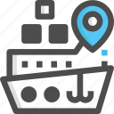 gps, harbour, location, placeholder, ship icon