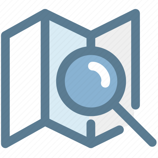 location, magnifying glass, map, navigation, position, search icon