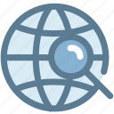 globe, location, magnifying glass, navigation, position, search icon