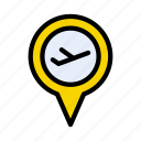 airport, map, location, pinpoint, destination