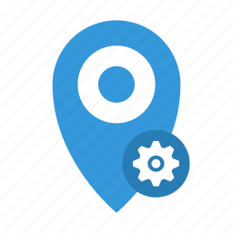 distance, location, marker, place, point, settings icon