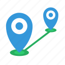 distance, location, marker, place icon