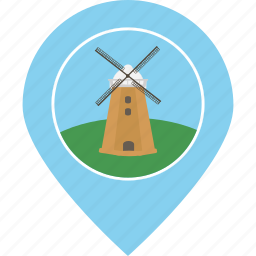 electricity, energy, location, map marker, navigation, power, windmill icon