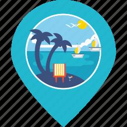 beach, boat, coconut trees, pin, sea, tourism, vacation icon