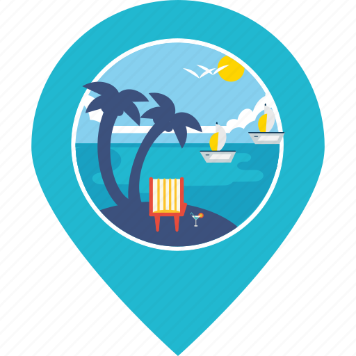 beach, boat, coconut trees, pin, sea, tourism, vacation icon
