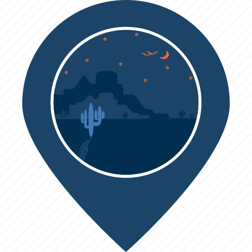 desert, fort, location, map marker, navigation, pin, place icon