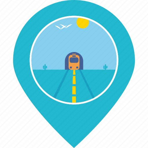 desert, landscape, location, map marker, navigation, train, travel icon