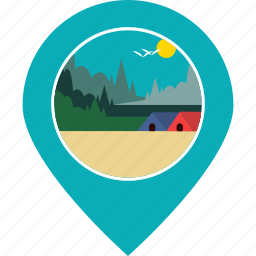 camping, forest, location, map marker, navigation, site, village icon