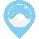 eskimo, igloo, location, map marker, navigation, snow, snowfall icon