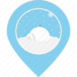 eskimo, igloo, location, map marker, navigation, snow, snowfall icon