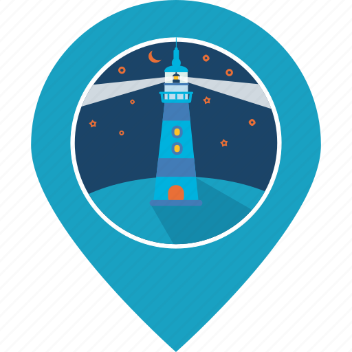 building, lighthouse, location, map marker, navigation, pin, sea icon