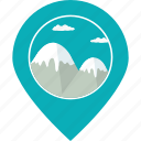 landscape, location, map marker, mountain, navigation, snow, tourism icon