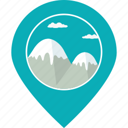 landscape, location, map marker, mountain, navigation, snow, tourism icon