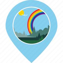 forest, location, map marker, navigation, rainbow, tourism, trees icon