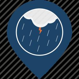 lightning, location, map marker, navigation, rainfall, storm, thunder icon